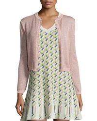 M Missoni Solid Metallic Mesh Cardigan Blush