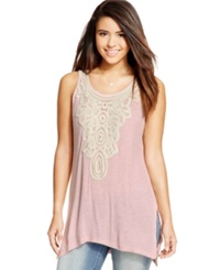 Eyeshadow Juniors' Sleeveless Crochet Panel Tunic Sheer Pink