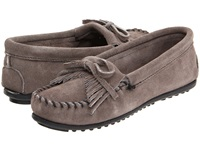 Minnetonka Kilty Suede Moc Medium Grey Suede Women's Moccasin Shoes Gray