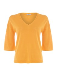 Marella Cicaldi V Neck Half Sleeve Wool Top Orange