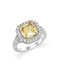 Judith Ripka Sterling Silver Asscher Canary Crystal Ring With White Sapphire Yellow White