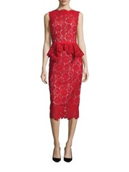 Nha Khanh Hana Peplum Lace Sheath Dress Red