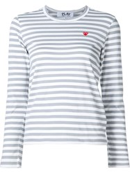 Comme Des Gara Ons Play Striped Long Sleeve T Shirt Grey