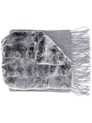 N.Peal Rabbit Fur Scarf Grey