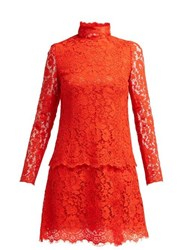 Dolce And Gabbana Cotton Blend Lace Dress Red