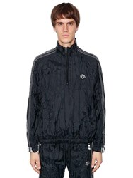 Adidas By Alexander Wang Wrinkled Tech Windbreaker Track Jacket Black White