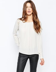 Y.A.S Mets Long Sleeve Panel Blouse Moonbeam White