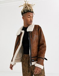 Sixth June Faux Shearling Jacket In Brown