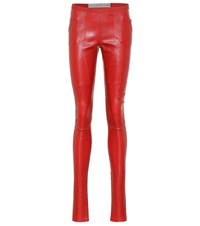 Rick Owens Stretch Leather Leggings Red
