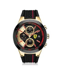 Ferrari Redrev Evo Gold Tone And Red Stainless Steel Case And Silicone Strap Men's Chrono Watch Black