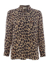 Max Mara Marica Long Sleeve Leopard Print Silk Blouse Multi Coloured