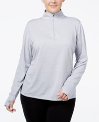 Ideology Plus Size Essential Quarter Zip Top Only At Macy's Silver Ice