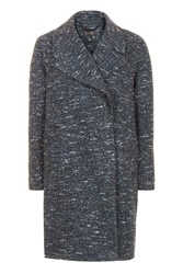 Topshop Double Breasted Cocoon Coat Navy Blue