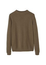 Mango Men's Wool Blend Knit Sweater Brown