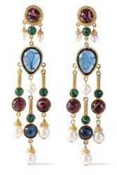 Ben Amun Woman 24 Karat Gold Plated Stone And Faux Pearl Earrings Gold