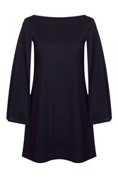 Cape Sleeve Shift Dress By Rare Navy Blue