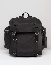 Asos Commander Backpack In Black With Strapping Black