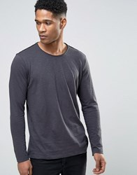 Sisley Long Sleeve T Shirt In Slub Gray