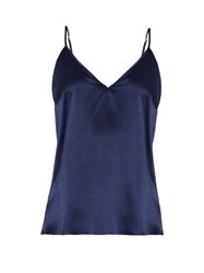 Derek Rose Bailey Silk Satin Cami Top Navy