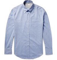 Brunello Cucinelli Slim Fit Button Down Collar Herringbone Cotton Shirt Blue