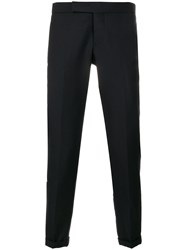 Thom Browne Engineered Striped Side Seam Solid Wool Twill Skinny Blue