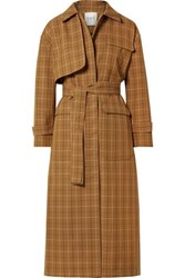 Sea Poirot Checked Cotton Blend Twill Trench Coat Camel