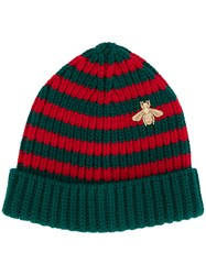 Gucci Striped Beanie With Embroidery Men Wool M Green