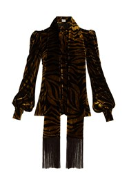 Hillier Bartley Zebra Print Fringe Trimmed Velvet Blouse Black Gold