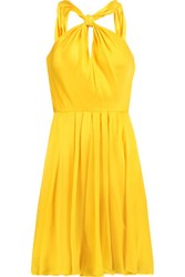 Halston Heritage Gathered Pleated Silk Satin Mini Dress Yellow