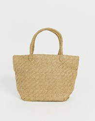 Weekday Mini Straw Shopper In Beige