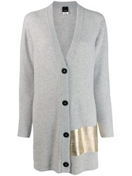 Pinko Metallic Detail Cardigan Grey