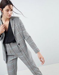 Asos Design Longline Slim Blazer In Coloured Check Multi