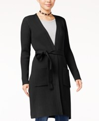 Almost Famous Juniors' Duster Cardigan With Belt Black