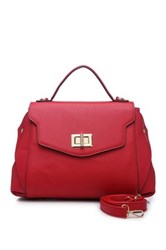 Segolene Paris Two Tone Vegan Leather Satchel Red