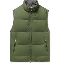 Brunello Cucinelli Quilted Nylon Down Gilet Green