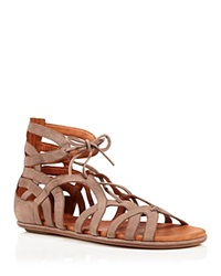 Gentle Souls Flat Caged Lace Up Sandals Break My Heart Taupe