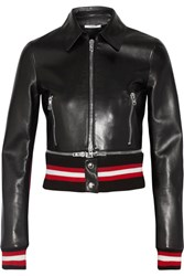Givenchy Cropped Leather Biker Jacket Black