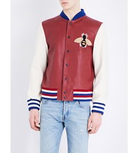 Gucci Jaguar Print Leather Bomber Jacket Red Ivory Blue Black