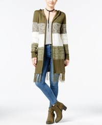 Almost Famous Juniors' Open Front Cardigan With Fringe Trim Olive Combo