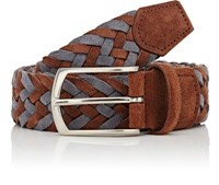 Simonnot Godard Men's Woven Nubuck Belt Tan