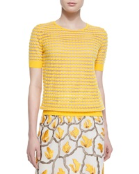 Escada Dot Striped Mesh T Shirt Sunflower