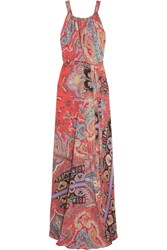 Etro Printed Silk Crepe De Chine Maxi Dress Coral