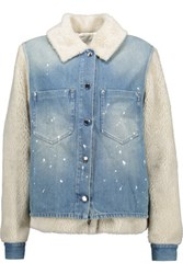 Maison Martin Margiela Mm6 Convertible Distressed Denim And Faux Shearling Jacket Light Denim
