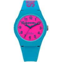 Superdry Syg198wr Unisex Urban Silicone Strap Watch Teal Hot Pink