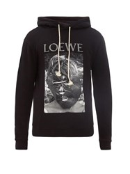 Loewe Logo Print Cotton Jersey Hooded Sweatshirt Black