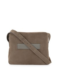 Nubuck Messenger Bag W Monili Strap Dark Gray Brunello Cucinelli