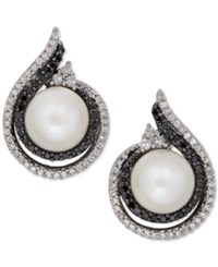 Macy's Freshwater Pearl 7Mm And Diamond 1 3 Ct. T.W. Earrings In Sterling Silver