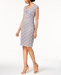 Connected Sequined Lace Sheath Dress Dusty Taupe