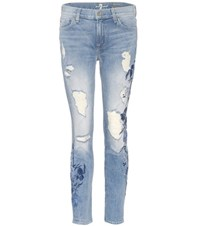 7 For All Mankind The Ankle Skinny Embroidered Jeans Blue