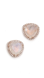 Ef Collection Diamond Stone Slice Stud Earrings Moonstone